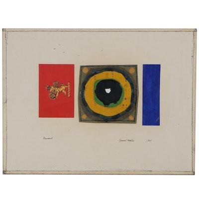 "Samuel Martin Mixed Media Painting ""Canard,"" 1964"