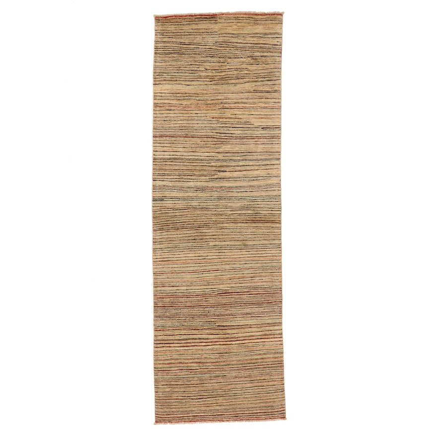 2'11 x 9'4 Hand-Knotted Afghan Gabbeh Wool Carpet Runner