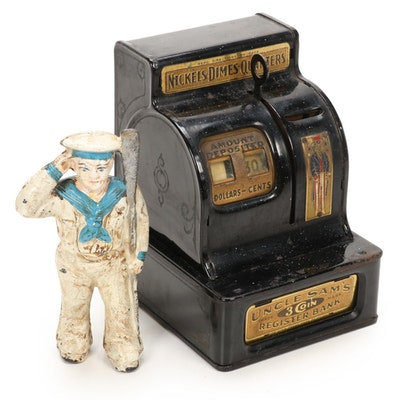 Saluting Oarsman Cast Iron Still Bank and Enameled Tin Cash Register Bank