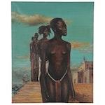 """Pascal Mpeck Narrative Oil Painting """"Premier Pas,"""" 2008"""