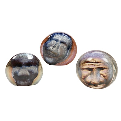 Andy Hudson Handblown Art Glass Face Paperweights