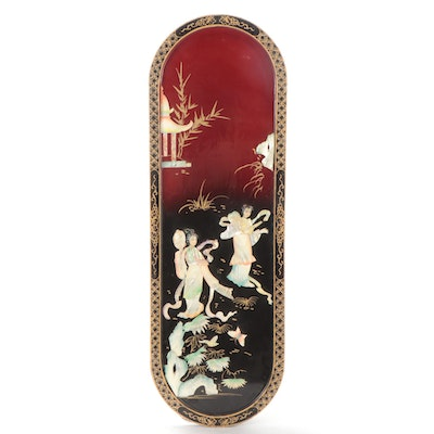 Chinese Painted Shell and Lacquer Panel with Women in a Garden