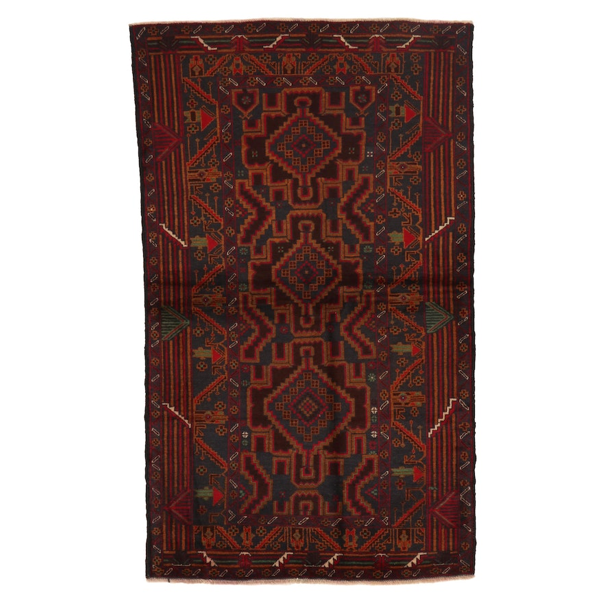3'1 x 6'4 Hand-Knotted Afghan Baluch Area Rug