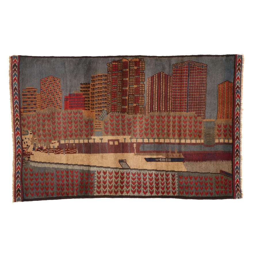 2'11 x 4'7 Hand-Knotted Afghan Pictorial Accent Rug