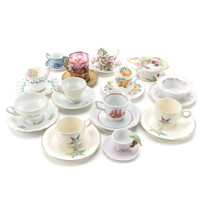 Bone China, Porcelain and Glass Teacups and Saucers Including Wedgwood