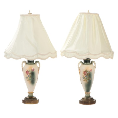 Floral Motif Ceramic Vase Table Lamps, Early to Mid 20th Century