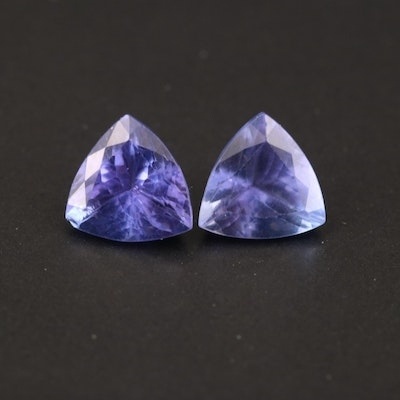 Loose 3.77 CTW Trillion Faceted Tanzanite Matched Pair