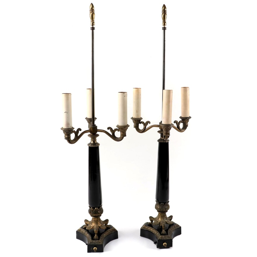 Neoclassical Style Gilt Metal and Black Enamel Table Lamps, Mid/Late 20th C