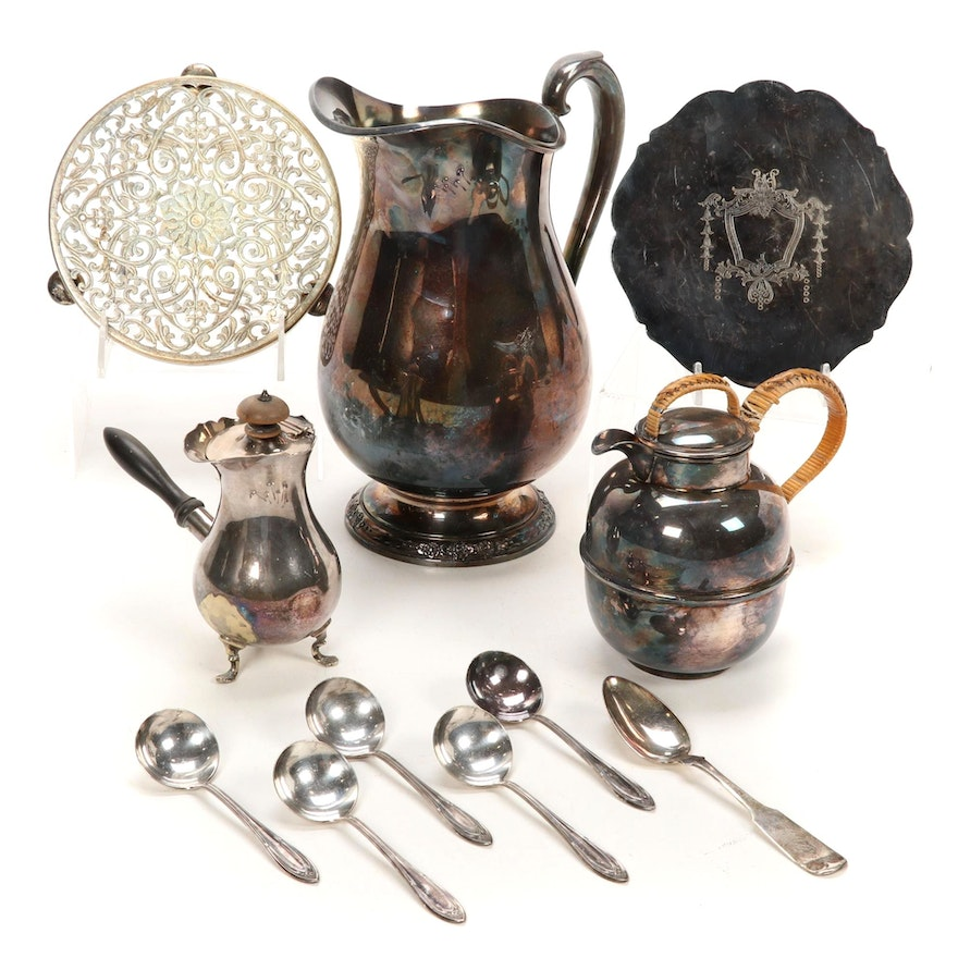 """International """"Camille"""" Pitcher and Other Silver Plate Table Accessories"""