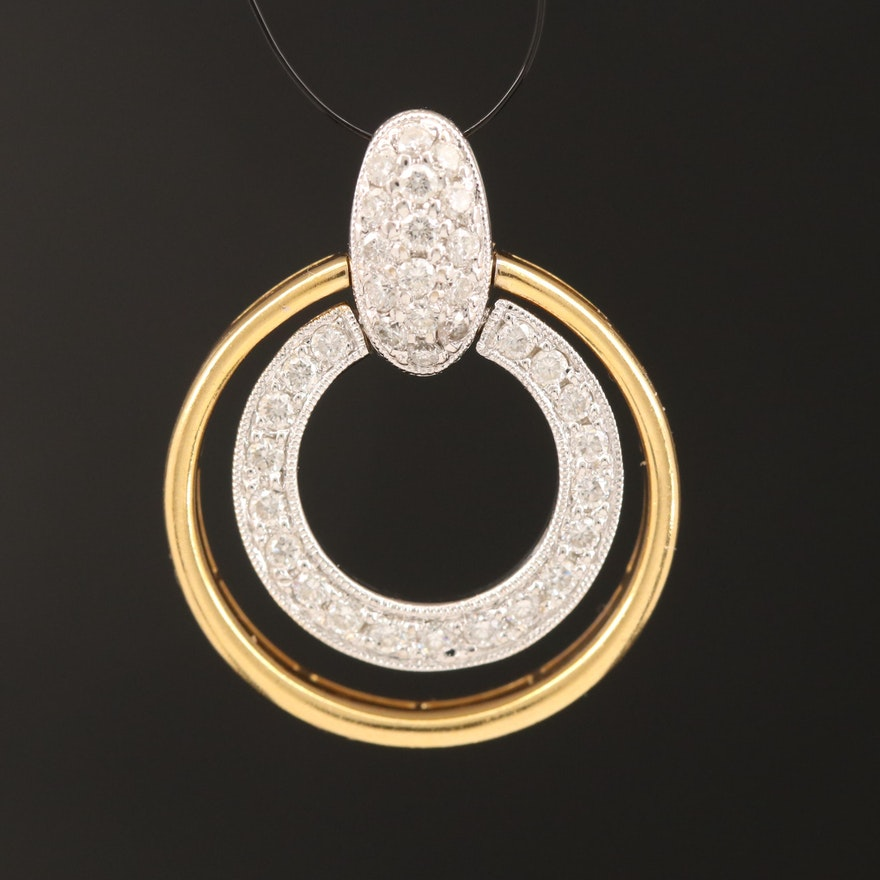 18K Diamond Double Circle Pendant