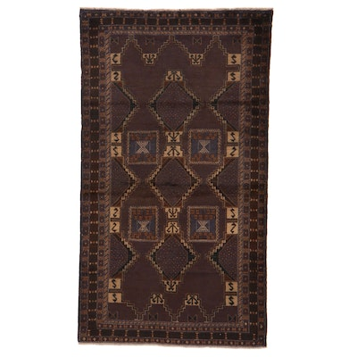 3'11 x 6'11 Hand-Knotted Afghan Baluch Area Rug