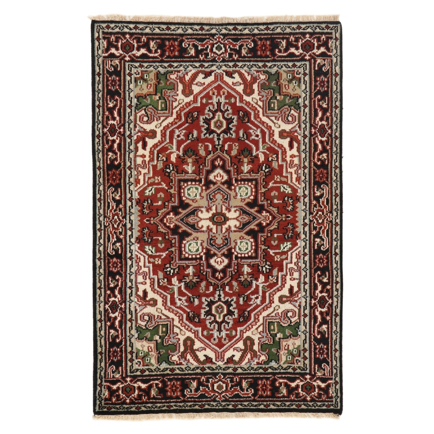 3'11 x 6'2 Hand-Knotted Indo-Persian Heriz Wool Area Rug