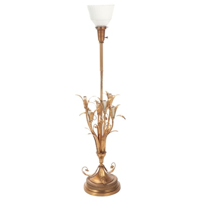 Rembrandt Lamps Flower Motif Gilt Metal Table Lamp, Mid-20th Century