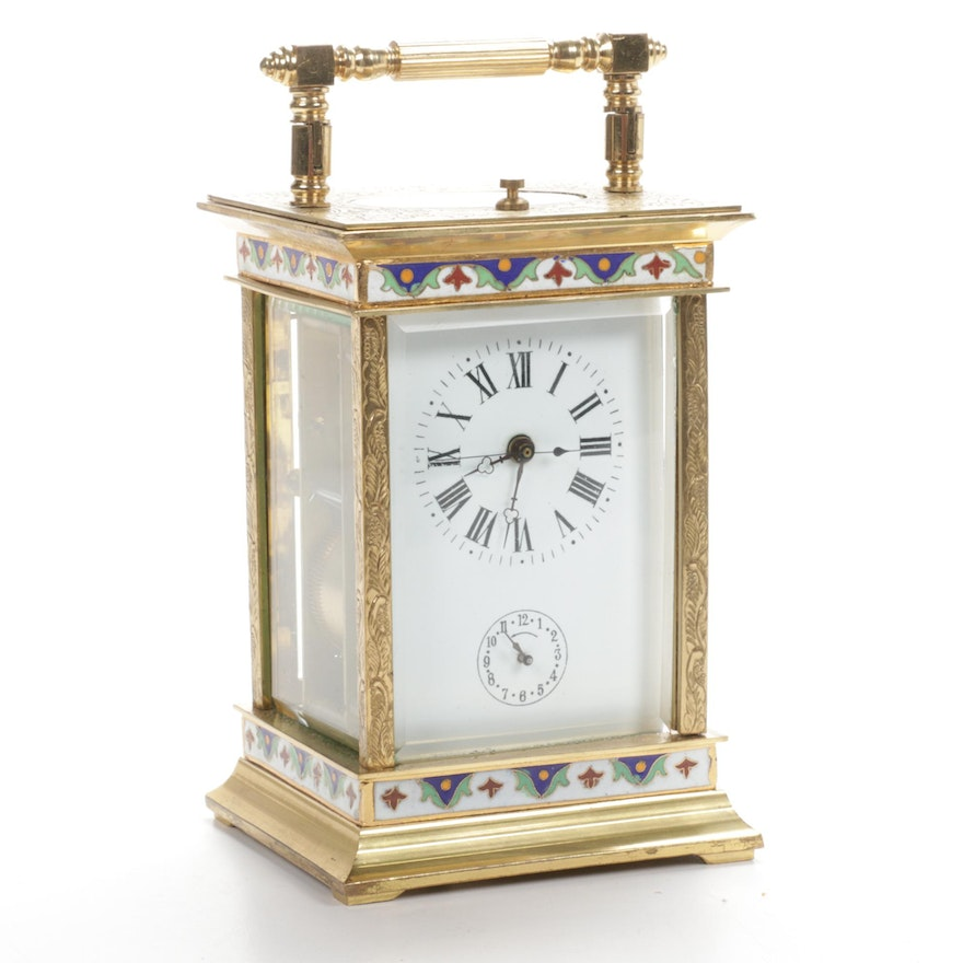 French Style Cloisonné Carriage Clock, 20th Century