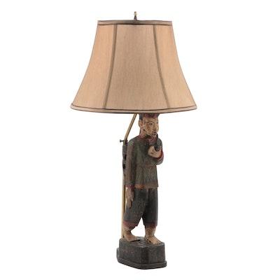 Hand-Carved Folk Art Polychrome Wooden Figurine Table Lamp