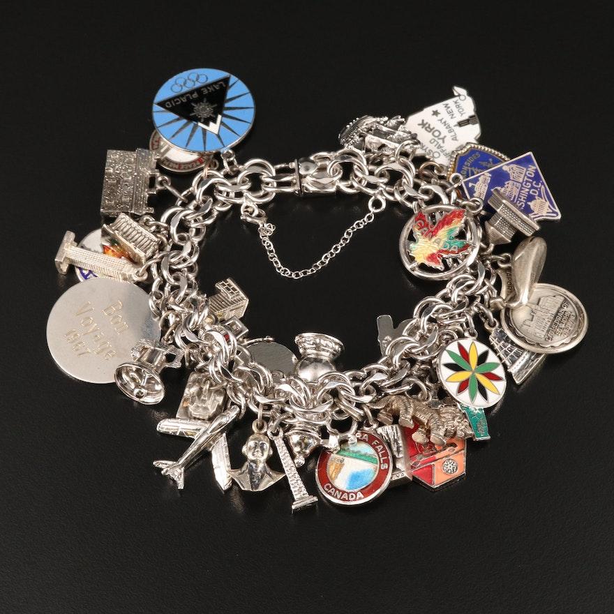 Vintage Sterling Charm Bracelet Including Enamel