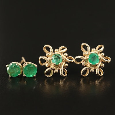 14K Emerald Stud and Looped Earrings