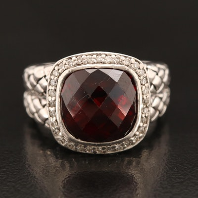 Scott Kay Sterling Garnet and Diamond Ring