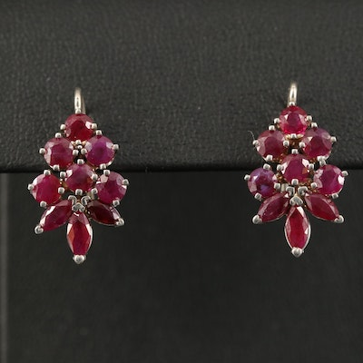 14K Ruby Drop Earrings