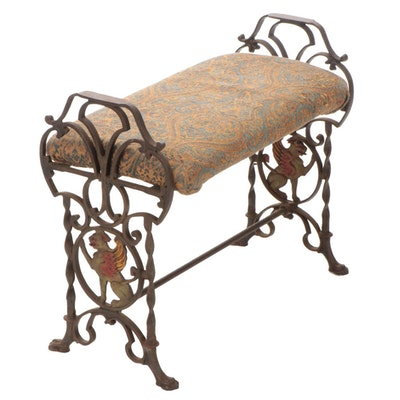 Victorian Cast Iron Vanity Bench with Griffin Detail