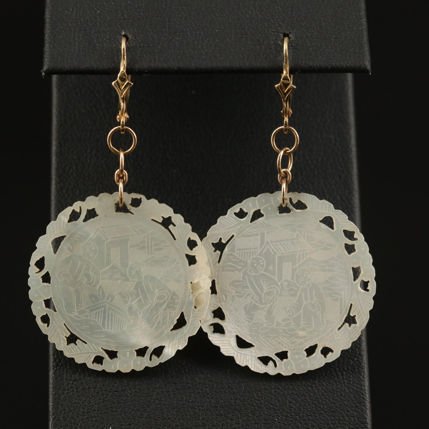 14K Mother of Pearl Etched Figural Scenic Dangle Earrings