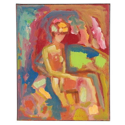 Murat Kaboulov Abstract Oil Painting of Seated Nude Figure, 2009