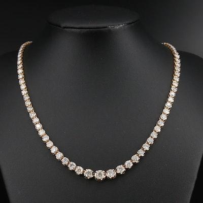14K 18.73 CTW Diamond Graduated Riviera Necklace