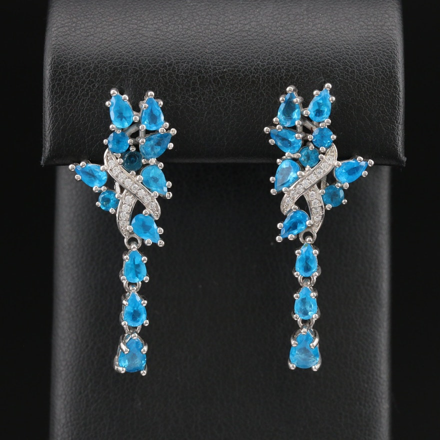 Sterling Apatite and Cubic Zirconia Cascade Earrings