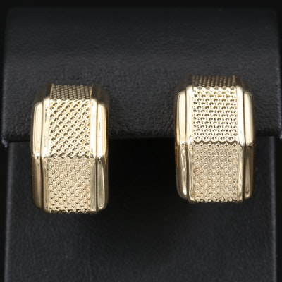 Italian 14K Textured Earrings
