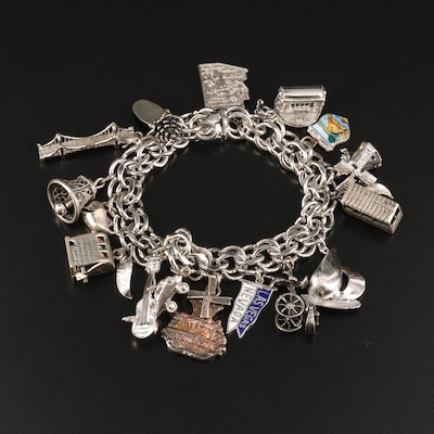 Vintage Sterling Travel Charm Bracelet Including Slot Machine and Helicopter