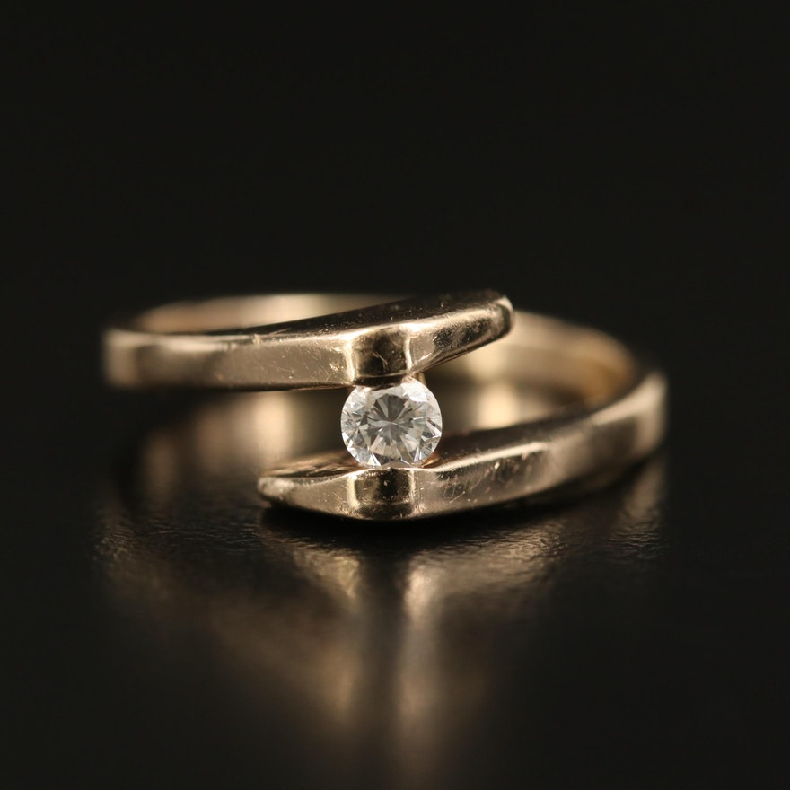 14K 0.13 CT Diamond Bypass Solitaire Ring