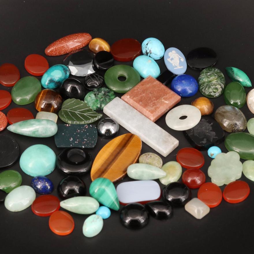 Loose Jadeite, Bloodstone, Labradorite and Additional Gemstones