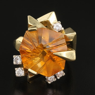 18K Citrine and Diamond Geometric Ring