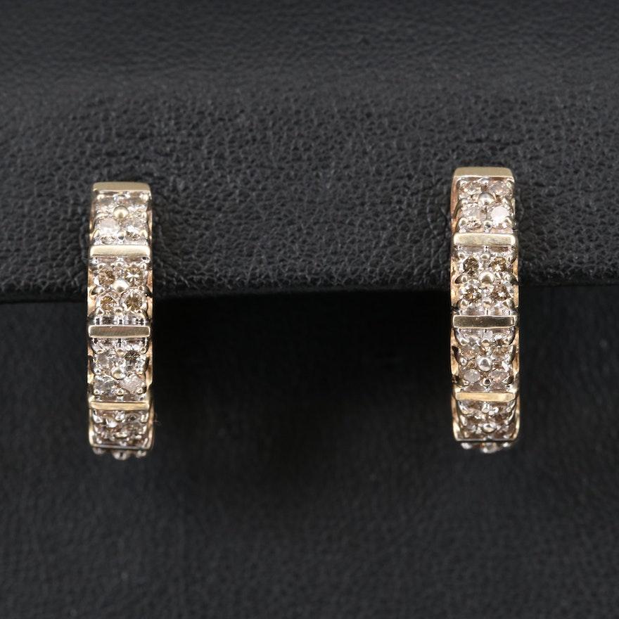 10K 1.05 CTW Diamond Hoop Earrings