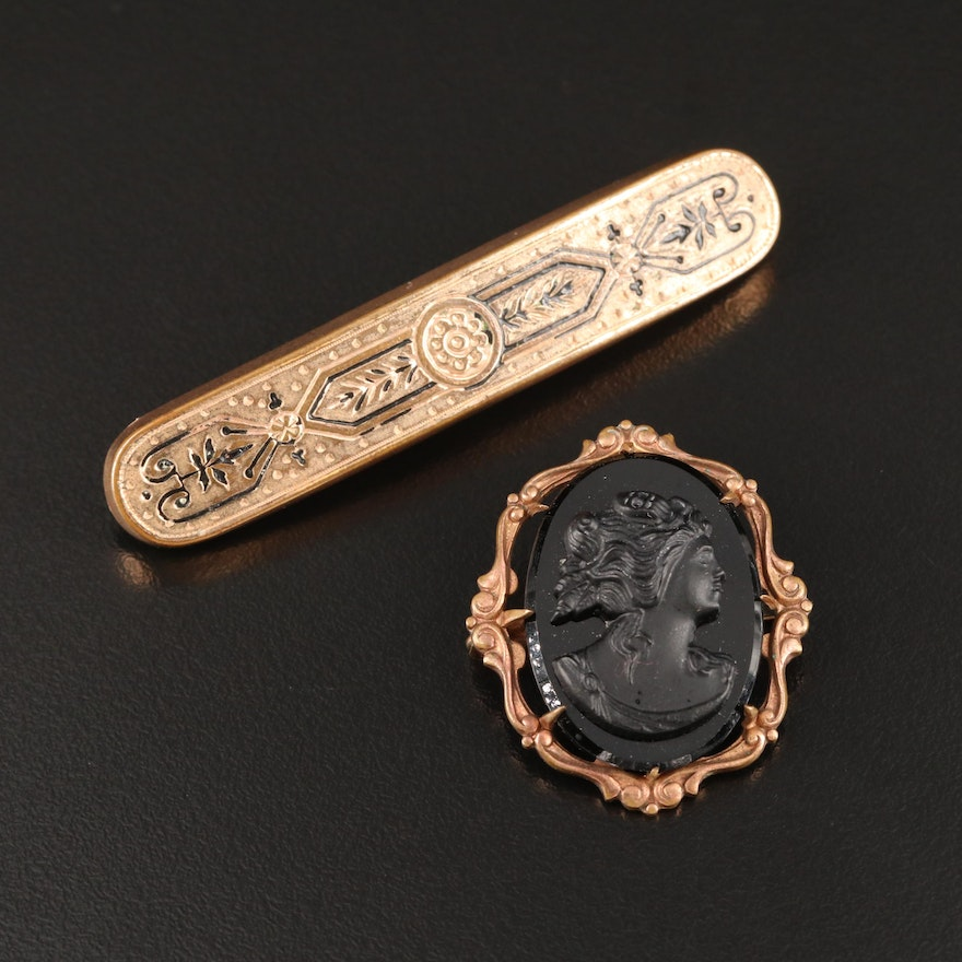 Vintage Enamel Taille d'Épargne Bar Pin with Glass Cameo Converter Brooch