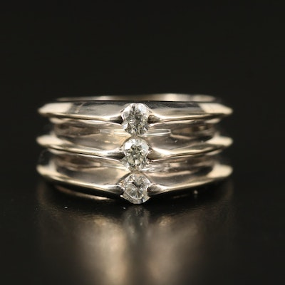 14K Diamond Knife Edge Stacked Triple Row Ring