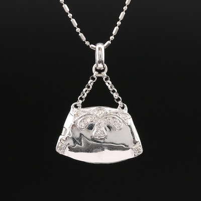 14K Diamond Handbag Locket Necklace