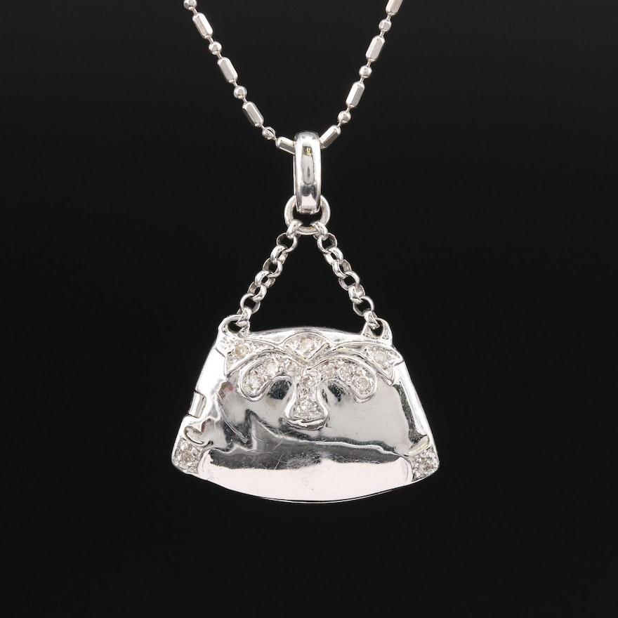 14K Diamond Handbag Locket Necklace