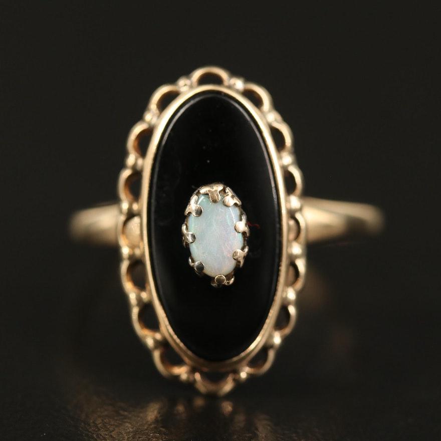 Vintage 10K Opal and Black Onyx Navette Ring