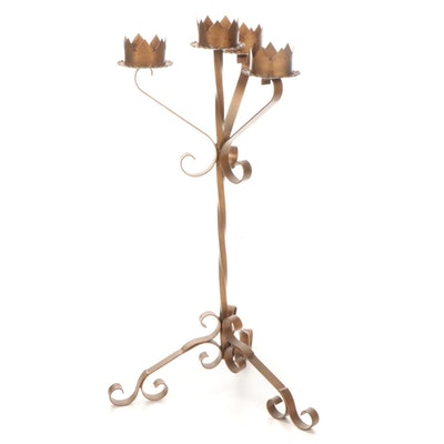 Mexican Painted Metal Four Light Floor Candelabra