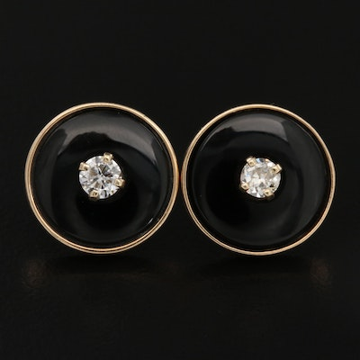 14K Diamond and Black Onyx Button Earrings