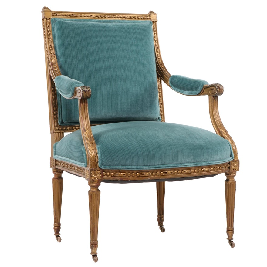 Louis XVI Style Giltwood Fauteuil, Late 19th/Early 20th Century
