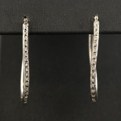 14K Elongated Hoop Earrings with Glitter Resin