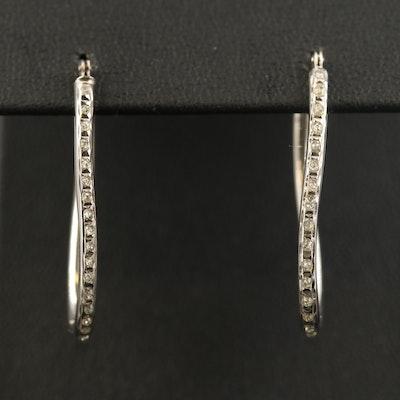 14K Elongated Hoop Earrings with Glitter Resin