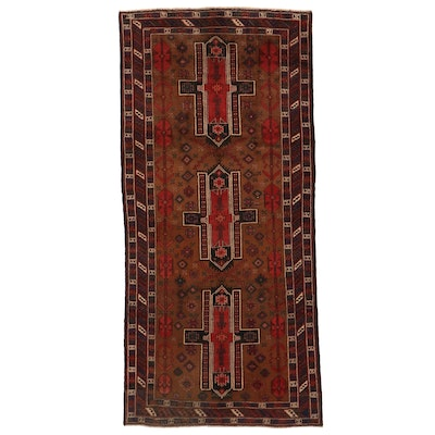 4'5 x 9'5 Hand-Knotted Afghan Baluch Area Rug