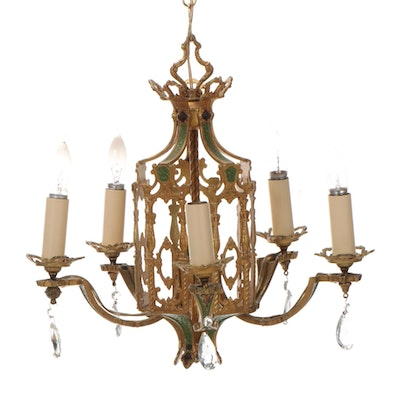 Gothic Revival Green and Gilt Metal Chandelier, Mid/Late 20th Century