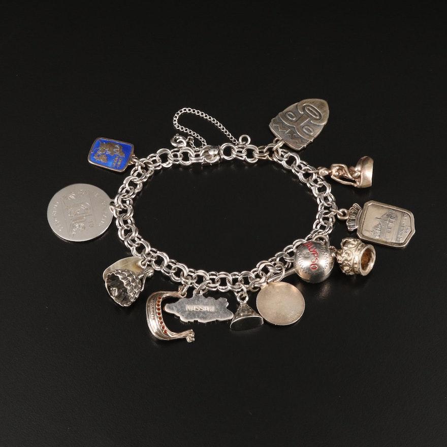 Vintage Sterling Charm Bracelet Including 830 Silver and Enamel