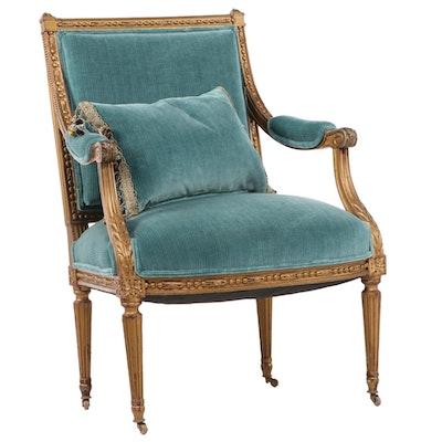 Louis XVI Giltwood Fauteil Armchair with Pillow
