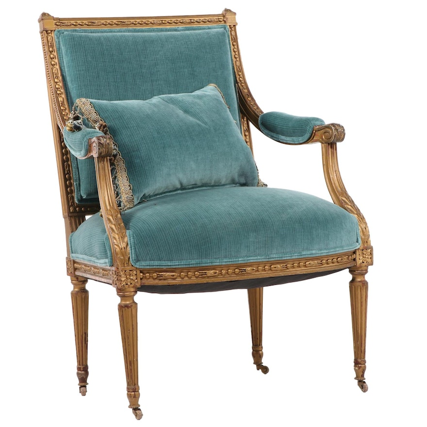 Louis XVI Style Giltwood Fauteil, Late 19th/Early 20th Century