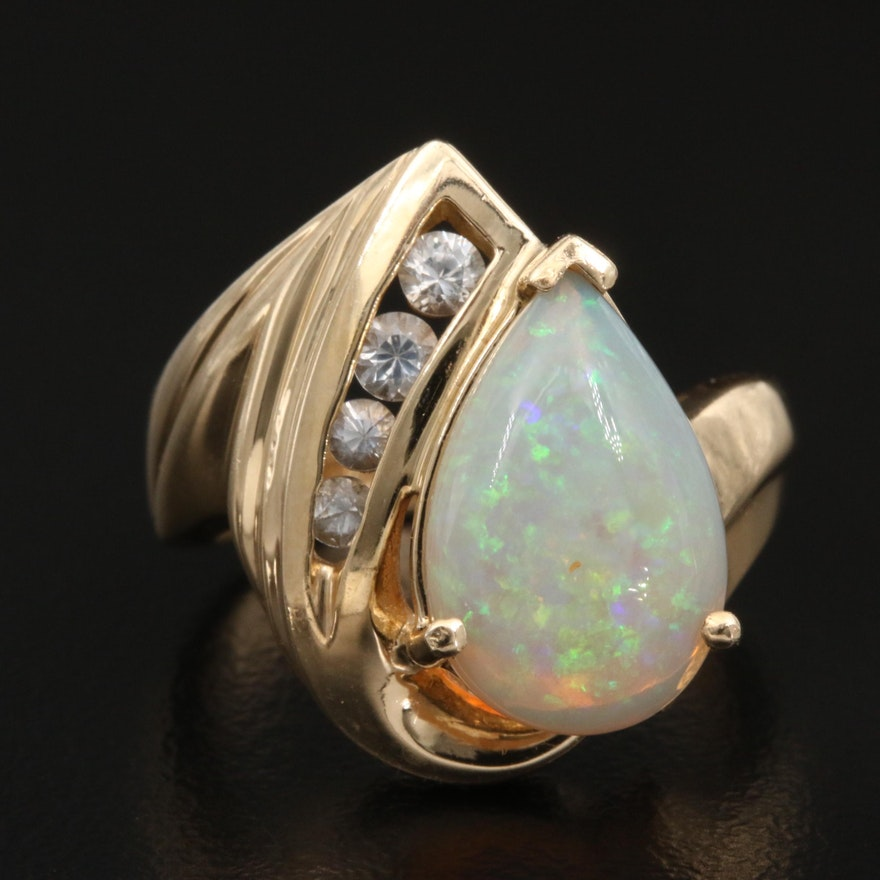 10K Opal and White Sapphire Ring
